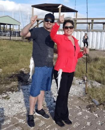 Sherice and husband fishing